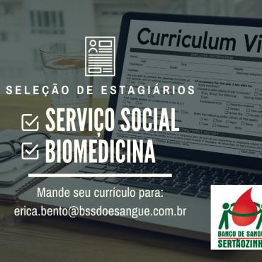 Banco de Sangue de Sertãozinho seleciona estagiários nas áreas de Serviço Social e Biomedicina