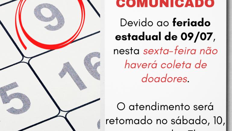 Banco de Sangue de Sertãozinho não realizará coletas nesta sexta, 09, devido ao feriado